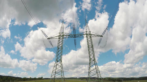 High voltage electricity tower and power lines Live Action