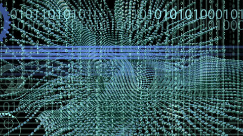 Binary code background and animation with wave object in motion made with trapco Animation