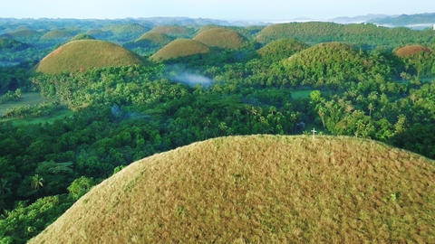 Aerial view of Chocolate hills. Fly over shot. Bohol, Philippines 2017 Filmmaterial