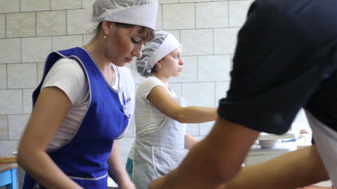 Kitchen Workers Cook Fresh Delicious Bakery Footage