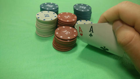 Poker game Playing cards and poker chips Footage