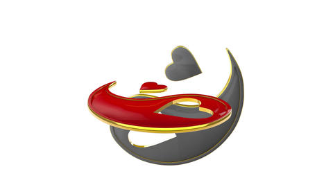 Yin Yang (the symbol of eternal love). Eastern culture and philosophy. 3D animat Animation