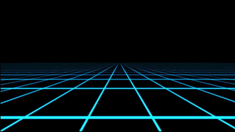 Blue Holographic Tron Grid Floor Motion Graphic Element Animation