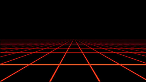 Red Holographic Tron Grid Floor Motion Graphic Element Animation