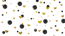 Gold glitter hearts and black circles video animation Animation
