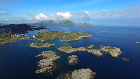 Flight above small islets near Ballstad on Lofoten islands Footage