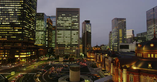 Evening View of Office Buildings surrounding Tokyo Station Footage
