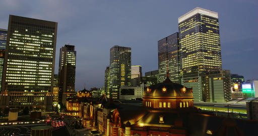 Tokyo Station by Night, surrounded by Hi Rise Office Buildings Footage