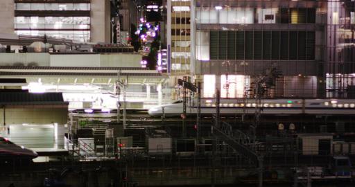 Shinkansen Bullet Train arriving at Tokyo Terminal Footage