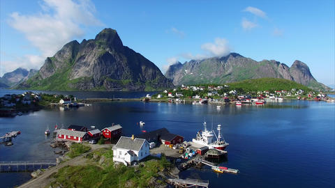 Fishing Harbor In Town Reine On Lofoten Islands In Norway stock footage