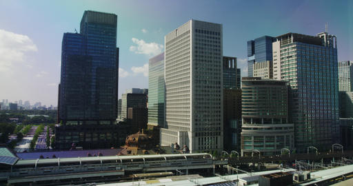 Hi Rise Office Buildings facing Tokyo Station Footage