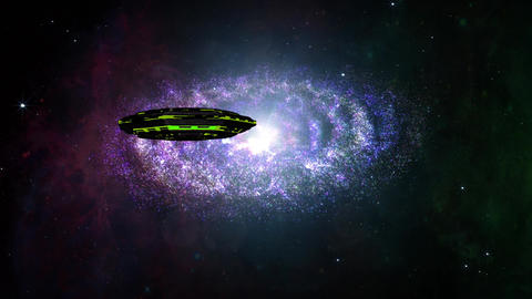 4 K UFO in Spiral Nebula Clouds in Galaxy 2 Animation