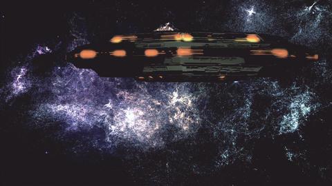UFO in Planetary Nebula Clouds in Galaxy 4 stylized Animation