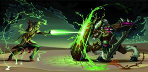 Fighting scene between elf and beast ベクター