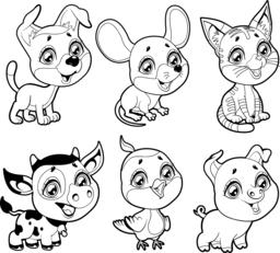 Cute farm animals in black and white Vector