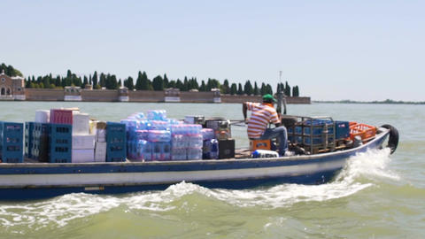 Motorboat carrying humanitarian freight from charity fund, water transportation Footage