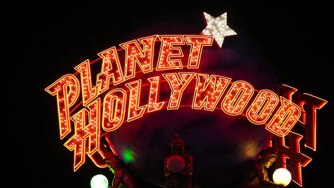 Planet Hollywood Casino Sign at Night close up Footage