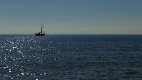 Sailing Boat And Sea At Early Morning In Sardinia Italy Footage