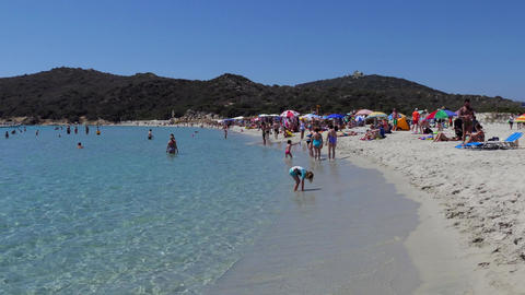 White Sand Beach And Tourists People Swimming In Sardinia Italy 画像
