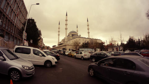 Mosque in centre Ankara cars around cloudy day timelapse ビデオ