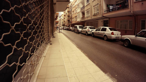 Residential area Grilles on the ground floor Cars on Parking place Ankara Footage