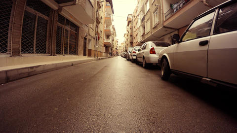 Residential area ampty street Cars on Parking place Ankara Footage