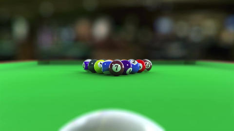 Balls breaking on pool table CG動画素材