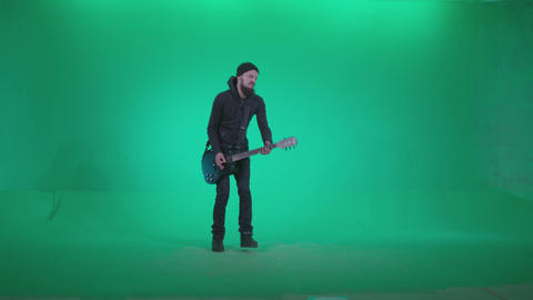 Black Guitarist Playhard Z3 - Green Screen Video Footage Footage