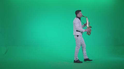 Saxophone Virtuoso Performer s1 - Green Screen Video Footage Footage