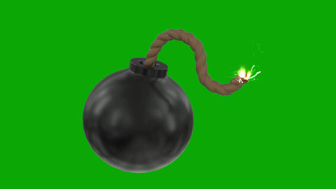 Bomb cartoon toon fuse burning lit timer sparks sphere ball loop 4k Footage