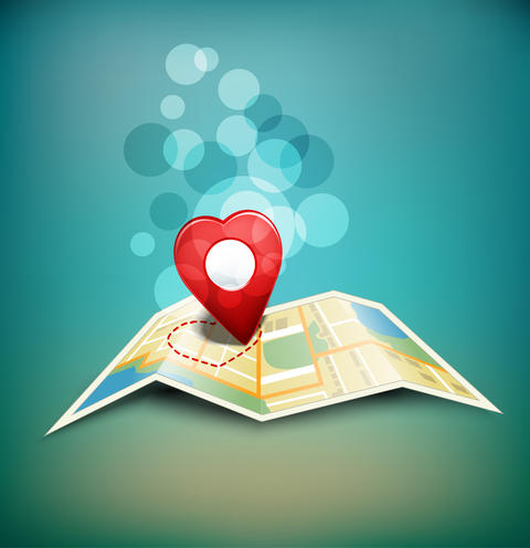 """romantic background """"territory of love"""" with a map and a Fotografía"""