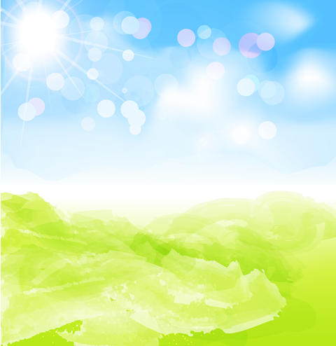background with sun, blue sky フォト