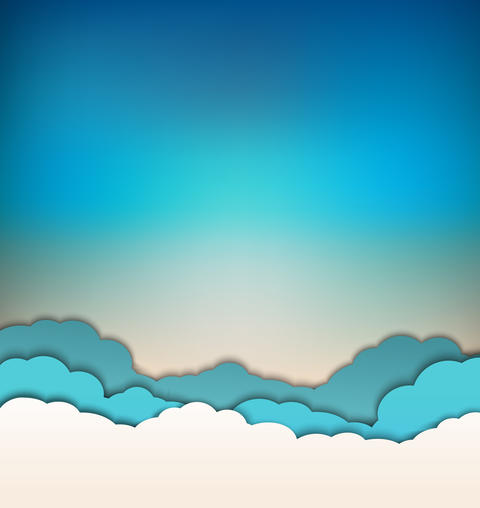 background with decoration: sun, blue sky and clouds Fotografía