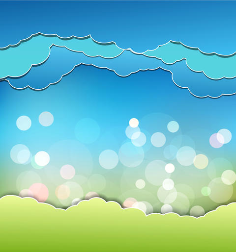 background with decoration: sun, blue sky and clouds フォト