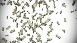 Money stacks bundles falling dollars financial win US USA American currency tax Footage