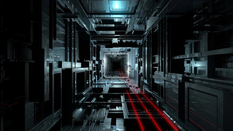 VJ Inside Futuristic Hi-Tech Tunnel Stock Video Footage