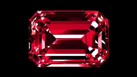 Iridescent Ruby Emerald Cut. Looped. Alpha Matte