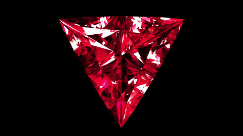 Iridescent Ruby Triangle Cut. Looped. Alpha Matte Animation