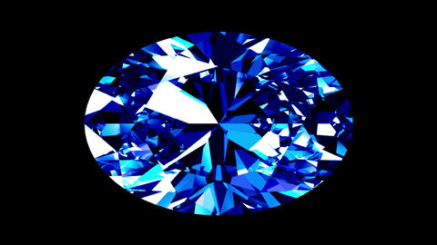 Sapphire Oval Cut. Looped. Alpha Matte Animation
