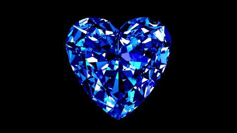 Sapphire Heart Cut. Looped. Alpha Matte Animation