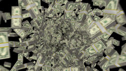 Money stacks bundles falling dollars financial win US USA American currency tax Footage