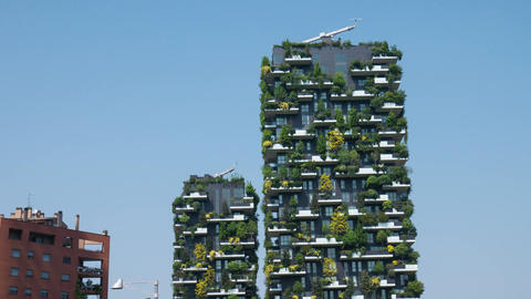 Bosco Verticale (Vertical Forest) skyscrapers in Milan, Hyperlapse Footage