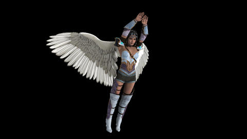 A girl in armor with wings takes off, animation, Alpha channel Animation