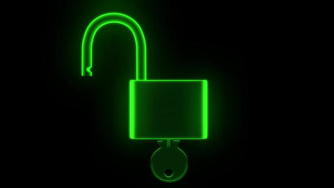 Padlock hologram unlock lock key security safety protection hack password 4k Footage