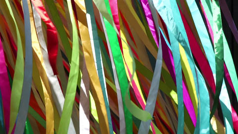 Colored cloth bands on wind Image