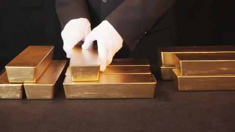 Gold Bullion, Gold Bars Footage