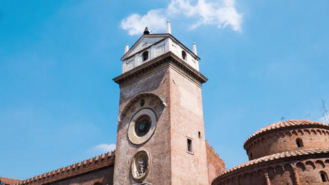 Clock Tower in Piazza delle Erbe in Mantua, Timelapse Footage