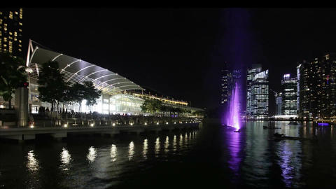 Time lapse of light show at Marina Bay Sands in Singapore Filmmaterial