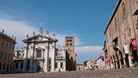 Piazza Sordello with cathedral and Ducal Palace in Mantua, Timelapse Footage