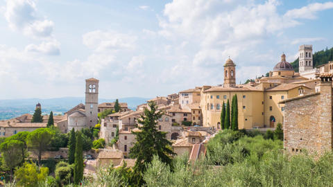 Timelapse panorama of Assisi, Umbria, Italy Footage